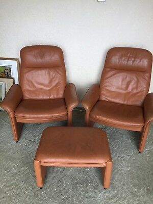 Rare, original mid century 1960s Pair De Sede DS 50 Armchairs and footstool