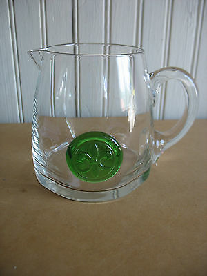 "DARTINGTON CRYSTAL GLASS PITCHER 4 1/2"" Mid century Modern Barware Fleur de lis"