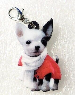 Chihuahua with Scarf Acrylic Double-Sided Purse Charm Dangle Zipper Pull Jewelry
