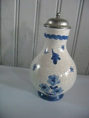 Vtg Antique GERMANY Cruet Pitcher Bottle Delft Blue & white pottery pewter top