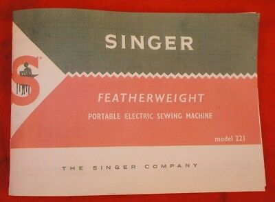5 pack White Singer Featherweight 221 221-1 Sewing Machine Owners Manual Booklet