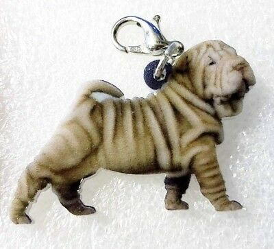 Shar Pei Dog Puppy Realistic Acrylic Double-Side Purse Charm Zipper Pull Jewelry