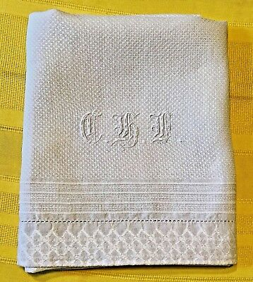 Antique White Monogramed CHL Huck Bath Towel, Beautiful Textile From The Past