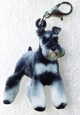 Schnauzer Standing Realistic Acrylic Double-Side Purse Charm Zipper Pull Jewelry