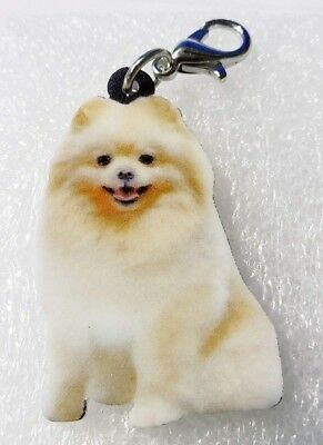 Pomeranian Sitting Realistic Acrylic Double-Side Purse Charm Zipper Pull Jewelry