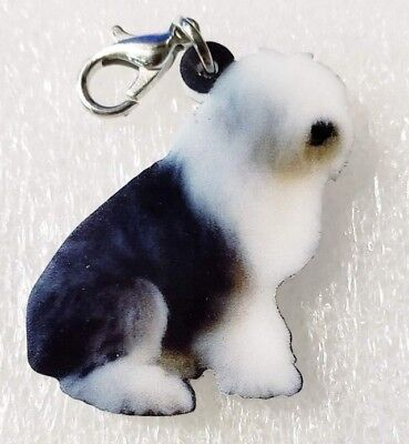 Old English Sheepdog OES Realistic Double-Sided Purse Charm Zipper Pull Jewelry