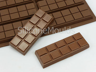 6 cell 10 Chunk Sections Chocolate Bar Candy Mold Professional Silicone Mould
