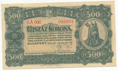 1923 Hungary 500 Korona Note-Average Circulated Grade-Ships Free!