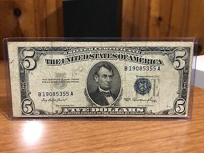 $5 1953 FIVE DOLLARS Bill Crisp Blue USA SILVER Certificate Note OLD ...