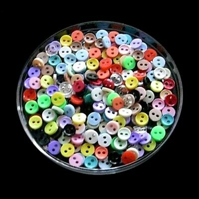 200 Wholesale Mixed Lot Mini Tiny Micro Doll Figure Clothes Sew Buttons 6mm L1