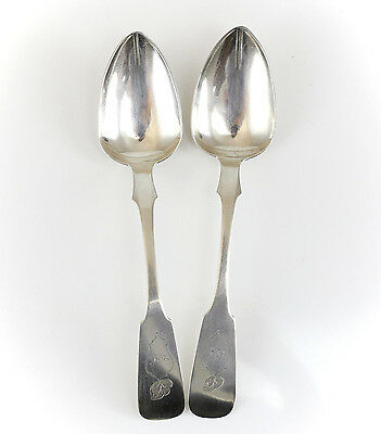 """Pair of Henry Hyman Coin Silver Serving Spoons 8.75"""", c1850 Hand Chased Shield"""