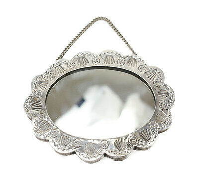 Vintage Neco 900 Silver Compact Hanging Mirror, Hand Chased Floral Shape