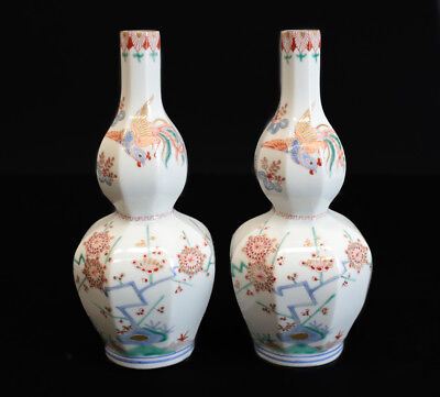 Oriental Porcelain Hand Painted Octagonal Lobed Bud Vases