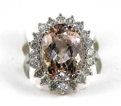 Oval Cut Pink Morganite & Diamond Solitaire Lady's Ring 14k White Gold 8.30Ct