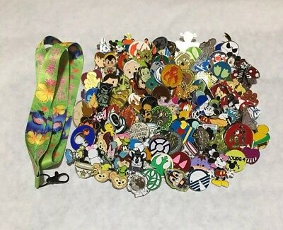 Disney Trading Pins lot of 100 US Seller 100% Tradable NO DOUBLES - Free Lanyard