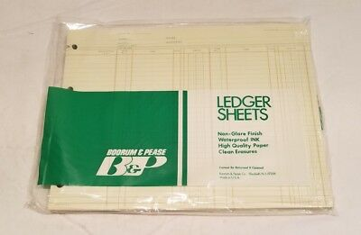 "NOS Boorum & Pease Ledger Pads 9 1/4 x 11 7/8"" Green Paper, 100ct,  A-9115"