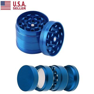Tobacco Herb Spice Grinder 4Piece Herbal Alloy Smoke Metal Chromium Crusher Blue