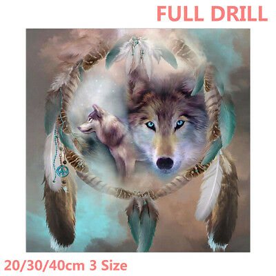 UK Full Drill Wolf Dream Catcher 5D Diamond Painting Embroidery Cross Stitch Kit