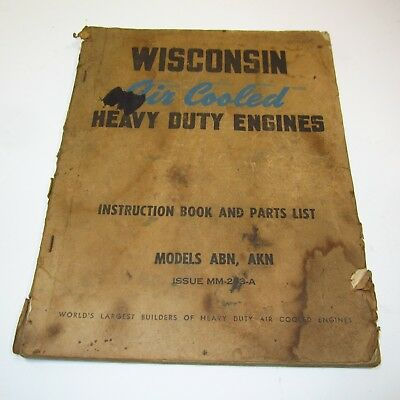 Wisconsin Air Cooled Heavy Duty Engines Manual + Parts, Abn 13.5 Akn 17.8 Cu. In
