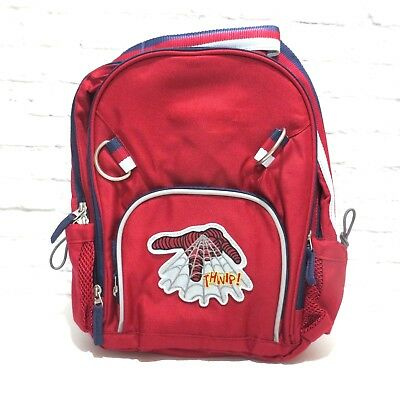 Pottery Barn Kids SMALL fairfax SuperHero BACKPACK Spiderman Web patch Red Navy