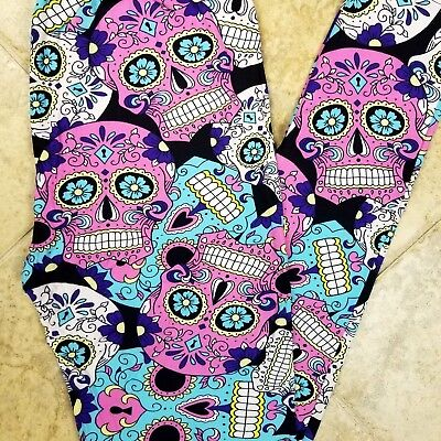 5af0cb59d87120 NWT Womens Sugar Skull Leggings Day Of The Dead Halloween Print Size OS