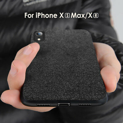 For iPhone XS Max XR X Luxury Ultra Slim Shockproof Cloth Case Fabric Back Cover
