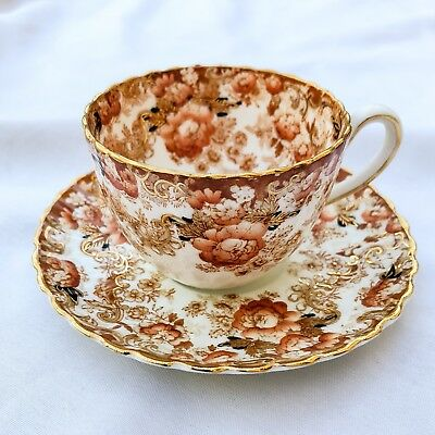 Antique Radfords Bone China Porcelain Red Gold Teacup And Saucer Fenton Ornate