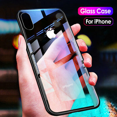 Tempered Glass Back Slim Shockproof Hybrid Case Cover For iPhone XS Max XR X 8 7