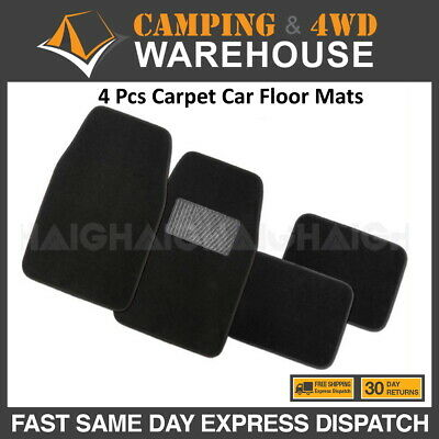 Quality 4 Pcs Carpet Car Floor Mats Front & Rear Charcoal Black Universal Fit