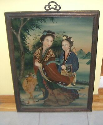 Vintage Reverse Glass Japanese Painting Japanese girls with deer