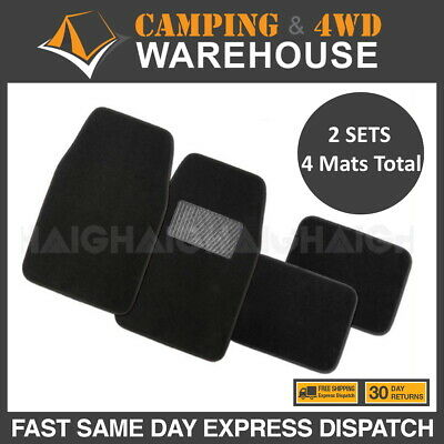 2 x Quality 4 Pcs Carpet Car Floor Mats Front & Rear Charcoal Black Universal