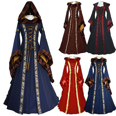 Women Medieval Victorian Vintage Renaissance Dress Hooded Gothic Cosplay Costume