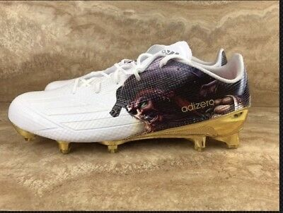 separation shoes cead5 ac1c2 Adidas Adizero 5-Star 5.0 Uncaged Pirate Football Cleats White Gold Chrome