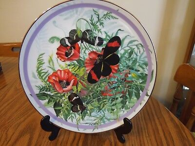 """"""" CRIMSON PATCHED LONGWING """"  6th issue Butterfly Garden Plate Coll 1986"""