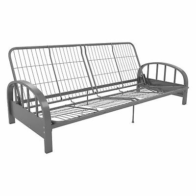 Dhp Aiden Metal Futon Frame Full Size Sofa Bed Sleeper Couch Dorm Guest Silver