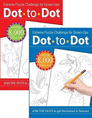 2 x Adult Dot To Dot Drawing Puzzle Challenge Anti-Stress Therapy Revitalised