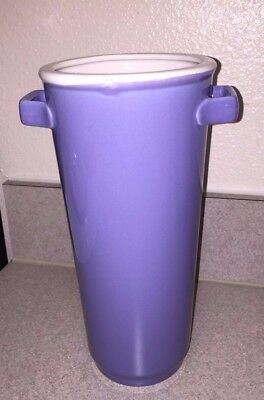 "Hosley Potteries Large Smooth 10"" Tall Lilac Purple Ceramic Vase with Handles"