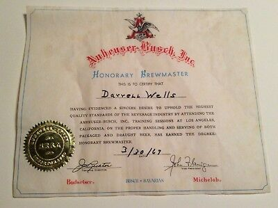 Vintage Anheuser Busch Certification Honorary Brewmaster Certifcate Beer 1967
