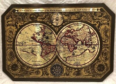 A New And Accurate Map Of The World 1628.1964 Masketeers Brass Old World Map A New Accurate Mappe Of The