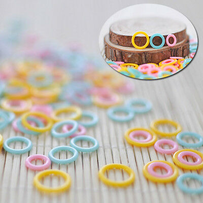 New 30X Plastic Ring Knitting Crochet Stitch Markers Knitters Tool Marking Ring