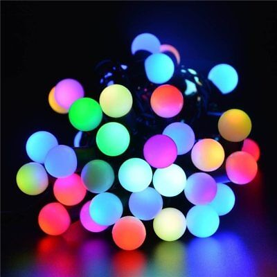 50 RGB Color Changing LED 16ft Multi Color Ball Globe String Lights Party Patio
