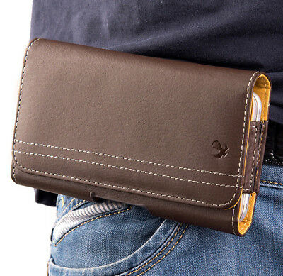 for Apple iPhones - BROWN Leather Pouch Cover Card Holder Belt Clip Loop Holster