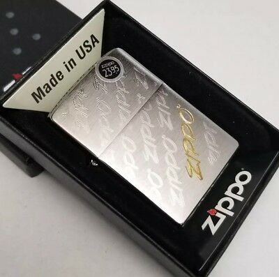 Zippo 28642 Windproof Brushed Chrome Lighter With Zippo Logos engraved NEW