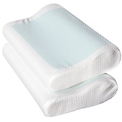 2x Supreme High Density Memory Foam Pillow Contour Cool GEL Top With Cover