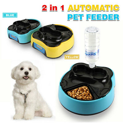 2in1 WATER & FOOD DIGITAL LCD AUTOMATIC PET FEEDER 400ML x4 MEAL DOG CAT BOWL