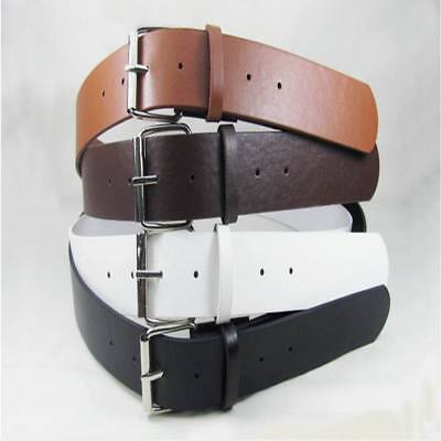 Fashion Women Belts Leather Casual Dress Plain Solid Colors Silver Buckle Lady