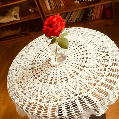 Vintage Cotton Crochet Round Tablecloth Lace Handmade Table Cloth Home Decor