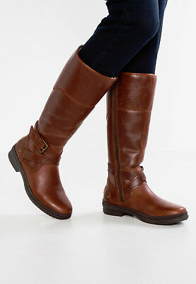 New UGG BNIB £200 Leather Fur WATER RESISTANT Women's Riding Knee Boots SALE