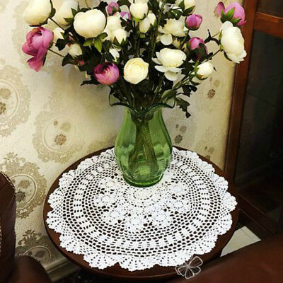 Handmade Crochet Small Round Table Cloth Lampshade Tablecloth Lace Doily Vintage