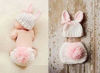Newborn Infant Baby Crochet Knit Photo Photography Costume Prop Outfit Bunny Set